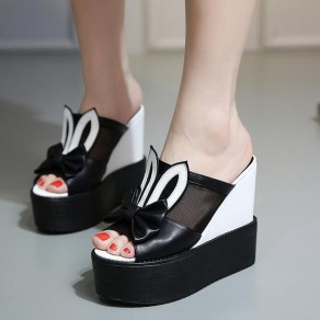 Black Piscine Mouth Wedges Bow Casual Ankle Sandals