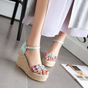 Blue Piscine Mouth Wedges Rhinestone Buckled Casual Ankle Sandals
