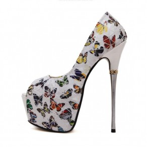 White Piscine Mouth Stiletto Butterfly Print Fashion High-Heeled Shoes