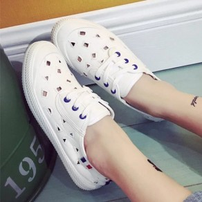 White Round Toe Flat Hollow-out Lace-up Casual Shoes