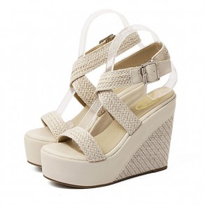 Apricot Piscine Mouth Wedges Buckled Casual Ankle Sandals