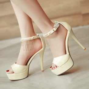 Beige Piscine Mouth Stiletto Chain Buckled Casual Ankle Sandals