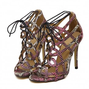 Red Piscine Mouth Stiletto Lace-up Fashion Ankle Sandals