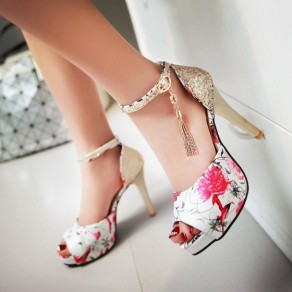 Red Piscine Mouth Stiletto Floral Print Buckled Fashion Ankle Sandals