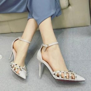 Grey Point Toe Stiletto Rivet Buckled Fashion Ankle Sandals