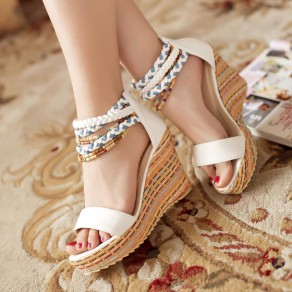White Piscine Mouth Wedges Beads Zipper Casual Ankle Sandals