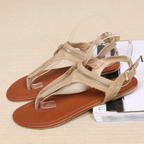 Camel Round Toe Flat Zipper Buckled Casual Ankle Sandals