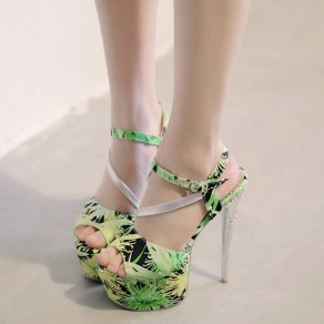 Green Piscine Mouth Stiletto Floral Print Buckled Fashion Ankle Sandals