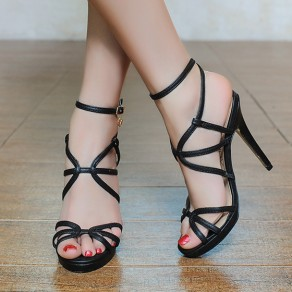 Black Piscine Mouth Stiletto Buckled Casual Ankle Sandals