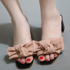Pink Piscine Mouth Chunky Bow Casual Ankle Sandals