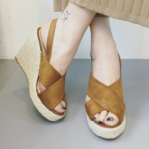 Brown Piscine Mouth Wedges Buckled Fashion Ankle Sandals