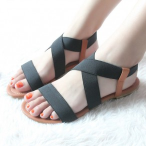 Black Piscine Mouth Flat Casual Ankle Elastic Sandals