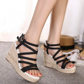 Black Piscine Mouth Wedges Buckled Casual Ankle Sandals