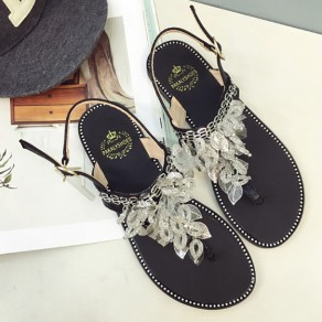 Black Round Toe Flat Leaves Chain Buckled Casual Ankle Sandals