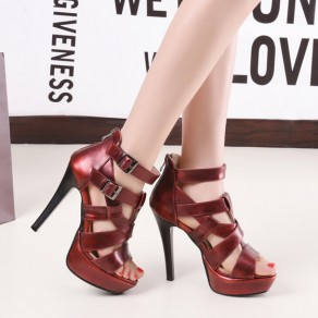 Red Piscine Mouth Stiletto Buckled Zipper Fashion Ankle Sandals