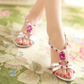 Golden Piscine Mouth Chunky Rhinestone Buckled Fashion Ankle Sandals