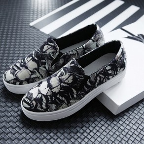 Grey Round Toe Flat Floral Print Casual Shoes