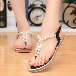 Black Round Toe Flat Beads Casual Ankle Sandals