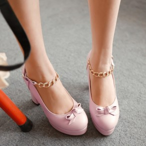 Pink Round Toe Chunky Bow Buckled Cute High-Heeled Shoes