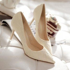White Point Toe Stiletto Lace Stitching Fashion High-Heeled Shoes