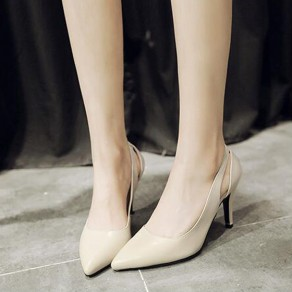 Beige Point Toe Stiletto Cut Out Fashion High-Heeled Shoes