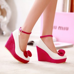 Rose Carmine Round Toe Bow Pearl Sweet Wedge High-Heeled Shoes
