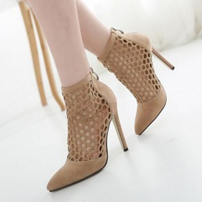 Apricot Point Toe Stiletto Hollow-out Zipper Sweet High-Heeled Sandals