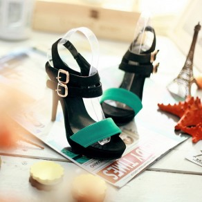 Black Piscine Mouth Stiletto Double Buckle Fashion High-Heeled Sandals