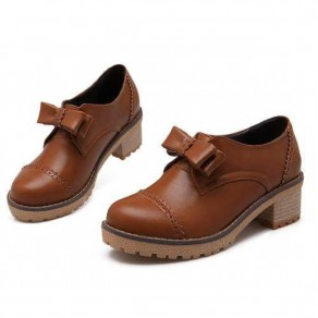 Brown Round Toe Chunky Bow Sweet Ankle Shoes