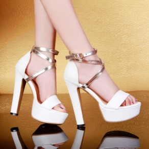 White Piscine Mouth Chunky Patchwork Casual Ankle Sandals