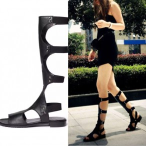 Black Piscine Mouth Flat Hollow-out Fashion Knee-High Sandals