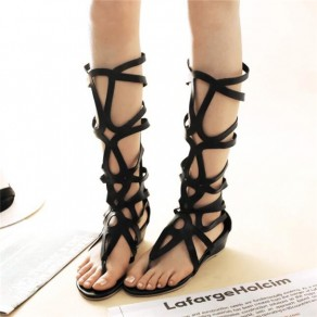 Black Round Toe Wedges Hollow-out Zipper Casual Mid-Heeled Sandals