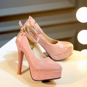 Pink Round Toe Stiletto Pearl Buckled Sweet High-Heeled Shoes