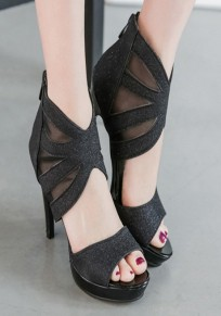 Black Piscine Mouth Stiletto Hollow-out Grenadine Fashion High-Heeled Sandals