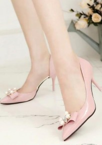 Pink Point Toe Stiletto Bow Rhinestone Pearl Sweet High-Heeled Shoes