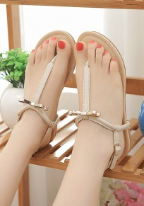Apricot Round Toe Bow Buckled Sweet Flat Sandals