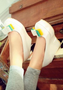 White Round Toe Wedges Bow Sweet High-Heeled Shoes