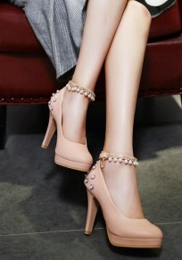 Pink Round Toe Stiletto Pearl Buckled Fashion High-Heeled Shoes