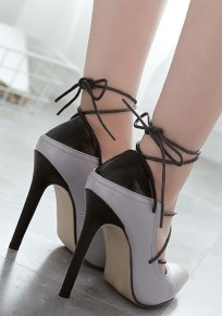 Grey Point Toe Stiletto Patchwork Lace-up Fashion High-Heeled Shoes