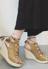 Brown Piscine Mouth Wedges Lace-up Casual High-Heeled Sandals