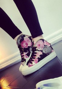 Red Round Toe Flat Print Casual Canvas Shoes