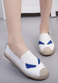White Round Toe Print PU Leather Casual Shoes