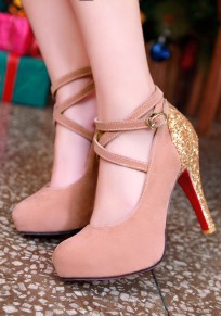 Pink Round Toe Chunky Sequin Buckle Fashion High-Heeled Shoes