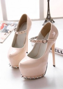 Apricot Round Toe Stiletto Rivet Fashion High-Heeled Shoes
