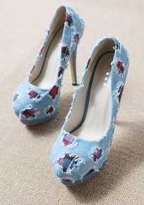 Blue Round Toe Stiletto Patchwork Fashion High-Heeled Shoes