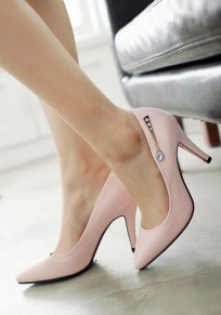Pink Point Toe Stiletto Crystal Casual High-Heeled Shoes