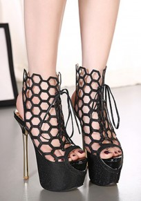 Black Piscine Mouth Hollow-out Stiletto Lace-up High-Heeled Sandals