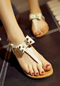 White Round Toe Bow Rivet Casual Flat Sandals
