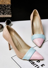 Beige Point Toe Stiletto Patchwork Sweet High-Heeled Shoes