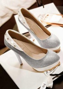 Light Grey Round Toe Stiletto Rhinestone Fashion High-Heeled Shoes